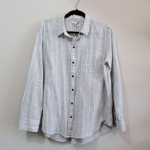 Lucky Brand  Gray Striped Button Up Blouse